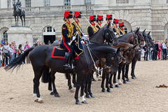 The Horse Guards Parade in London. The mounted guards from the household cavalry regiment in front of the museum, London, England Royalty Free Stock Images