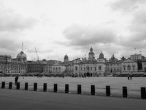 Horse Guards parade in London black and white. LONDON, UK - CIRCA JUNE 2017: Horse Guards parade ground in black and white Royalty Free Stock Photography