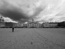 Horse Guards parade in London black and white. LONDON, UK - CIRCA JUNE 2017: Horse Guards parade ground in black and white Royalty Free Stock Photo