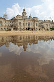 Horse Guards Parade seen reflected in a puddle. Royalty Free Stock Image