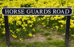 Horse Guards Road in London. A street sign for Horse Guards Road in central London Stock Images