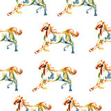 Horse hand drawn illustration painted coloring pencil isolated on white, seamless vector pattern, decorative background. Designed texture, ornament for Royalty Free Stock Photos