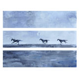 Horse hand drawn watercolor vector abstract illustration, horizontal banner with horse race, wild animal, template Royalty Free Stock Photos