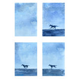 Horse hand drawn watercolor vector abstract illustration, vertical banner with horse race, wild animal, template Royalty Free Stock Images