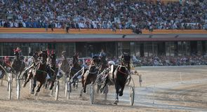 Horse harness race in mallorca crowded hippodrome wide. Riders compete during a horse harness race or sulky racing in Palma de Mallorca´s hippodrome Stock Photography