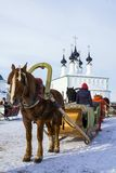 Horse harnessed to a sledge. Suzdal, Russia Royalty Free Stock Photos