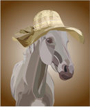 Horse in a hat Royalty Free Stock Image