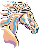 Horse head. Brush stroke  drawing image Stock Photography