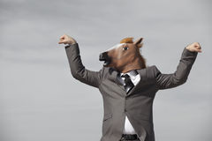 Horse Head Businessman Stock Images