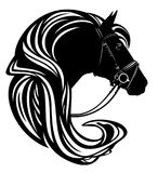Horse head with harness and long mane vecto. Horse head with harness and long mane profile portrait - black and white vector design Royalty Free Stock Photography