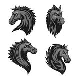 Horse head heraldic emblem. Horse head emblem with thorny prickly mane. Stylized heraldic icon of furious stallion for sport club, team badge, label, tattoo Stock Photography