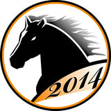 Horse head icon. The stylized head of a black horse. Horse head icon Royalty Free Stock Images