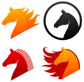 Horse head icons. Four different horse head icons isolated on white Stock Photos