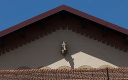 Horse head on pediment of roof closeup in Florence, Italy royalty free stock photography
