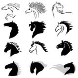 Horse head profile icon set Stock Photography
