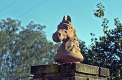 Horse head sculpture in clay Royalty Free Stock Photos