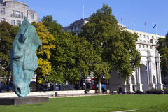 Horse Head Sculpture and Marble Arch in London Stock Image