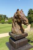 Horse head sculpture in the picturesque Jardins du Manoir d Eyrignac in Dordogne. France royalty free stock photos