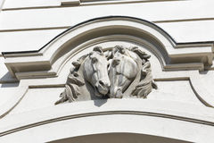 Horse head sculpture on wall. Festetics Castle, Kezsthely, Hungary. Royalty Free Stock Images