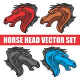 HORSE HEAD WITH SHIELD VECTOR SET vector illustration