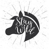 Horse head silhouette in retro style. Vector sign. Royalty Free Stock Photos