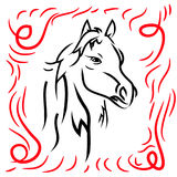 Horse head, silhouette on a white background. Royalty Free Stock Images