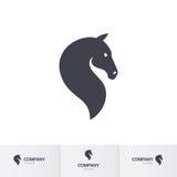 Horse head. Simple Dark Horse Head for Mascot Logo Template on White Stock Photos