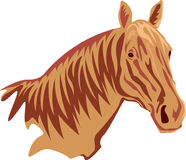 Horse head solid color abstract. Horse head brush stroke  drawing image Royalty Free Stock Photo