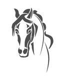 Horse head stencil. Stencil horse's head on a white background Stock Images