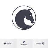 Horse head. Stylized Dark Horse Head in Circle for Mascot Logo Template Stock Photos