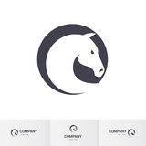 Horse head. Stylized White Horse Head in Circle for Mascot Logo Template Stock Photos