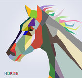 Horse head symbol of New Year 2014 trendy style. Geometric vector Royalty Free Stock Photography