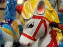 Horse Head on Toddler Carousel Stock Images