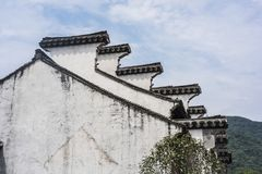 Horse head wall under blue sky and white clouds. Wuxi, Huishan, Jiangsu Ancient Town, Horse Head Wall Under Blue Sky and White Clouds Stock Photo