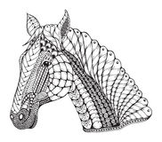 Horse head zentangle stylized, vector illustration, freehand pen Royalty Free Stock Images