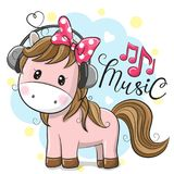 Horse with headphones on a blue background. Cute Cartoon Horse with headphones on a blue background vector illustration