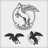 Horse heraldry coat of arms. Labels, emblems and design elements for sport club. Black and white Royalty Free Stock Photos