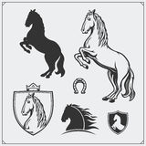 Horse heraldry coat of arms. Labels, emblems and design elements for sport club. Black and white Stock Photo