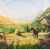 The horse on the hillside in the sun. Oil painting Royalty Free Stock Photo