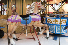 Horse on historical carousel Stock Photography