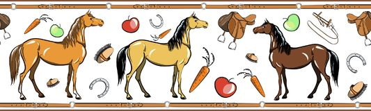 Horse and horseback riding tack tool seamless border. Equine sport in the leather belt frame. Stock Photography