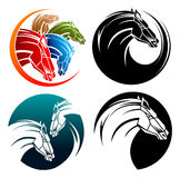Horse, horses in circles. Illustrated images on  background Stock Photo