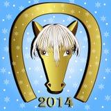 Horse with a horseshoe on a blue background. Illustration Stock Photo