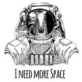 Horse, hoss, knight, steed, courser Astronaut. Space suit. Hand drawn image of lion for tattoo, t-shirt, emblem, badge. Horse, hoss, knight, steed, courser Hand Stock Photos