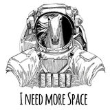 Horse, hoss, steed, courser wearing space suit Wild animal astronaut Spaceman Galaxy exploration Hand drawn illustration Royalty Free Stock Photo