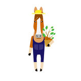 Horse with house plant Royalty Free Stock Photos