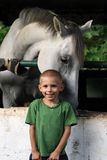 Horse hugging a boy Stock Images