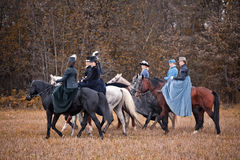 Horse-hunting with ladies in riding habit. Costumes. Historical reconstruction of famous XIXth century russian hounds hunting by horse club Avanpost Stock Image