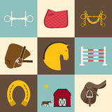 Horse Icons. Detailed set of equestrian icons. Modern flat horseriding icons, including saddle, bit, snaffle bit, stable with a fence, horse, horseshoe and an Stock Photos