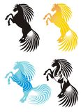 Horse icons. Horse rising on racks. Four horse icons: black, solar, water and spotty horses on a white background Stock Photos